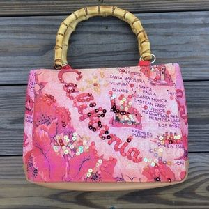 California Women Handbag Pink with Sequins Bamboo
